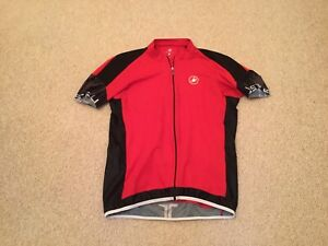 CASTELLI : Full Zip  Cycling Jersey / Top  (Mens / Size XL/ Red & Black)