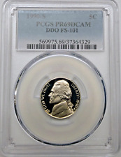 1990 S Jefferson Proof Nickel DDO FS-101 PCGS PR69 DCAM RARE Variety Coin