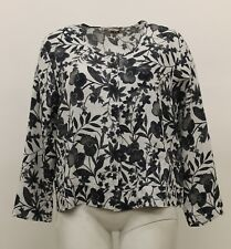 UNDERFLAX 2015 LINEN 2/3 SHIRT BUTTONED POCKET CARDI BLACK FLORAL PLUS SIZE 1G