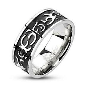 Stainless Steel Band with black and silver inlay size 11