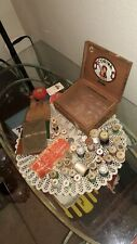 Lot Of Antique/Vintage Thread Spools, Needles, Sewing Kit + In Cigar Box
