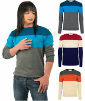 New Man Mens Thin Knit Jumper Striped Crew Neck Top Pullover Sweater UK