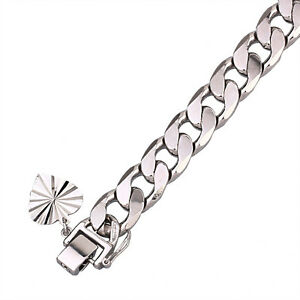 18k White Gold Filled Solid GF Curb Link Man Woman Heavy Chain Bracelet BL226