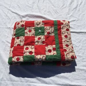 "Apples & ABC's Handmade Quilt Teachers 34"" x 51"""