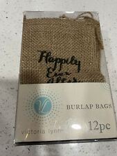 "Victoria Lynn Box of 11 Happily Ever After Burlap Wedding Favor Bags 4 x 6"" New"