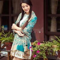 New Women's Fashion Blue 100% Cashmere Pashmina Soft Warmer Wrap Shawl Scarf