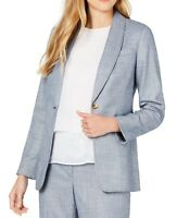Calvin Klein Womens Blazer Jacket Chambray Blue Size 4P Petite 1 Button $129 391