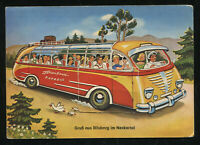 Mint 1940s Germany 3rd Reich Picture Postcard German Culture Scenic Bus Trip