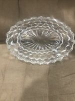 "Vintage Clear Diamond Pressed Glass Oval Relish Candy Celery Dish 9"" x 6"" x 2"""