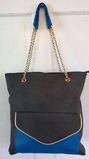 Big Buddha Shoulder Bag Tote Gray & Blue- Chain Shoulder Straps Nice Big Bag