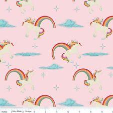 REST Unicorn Rainbow Patchworkstoff Stoffe Kinderstoff Patchwork Einhorn Rosa
