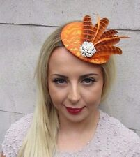 Orange White Pheasant Feather Fascinator Pillbox Hat Hair Clip Races Vtg 3184