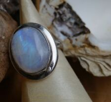 Schlicht Solitärring 54 Handarbeit Mondstein Ring 2 cm Lang Silber Modern