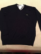 NEW Men's Lacoste V Neck Sweater 7 2XL Navy Blue
