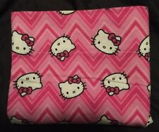 New Handmade Hello Kitty Flannel Pillowcase Pink Striped Zig Zags 20x34