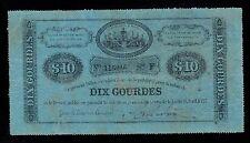 HAITI   10  GOURDES  L. 1827    PICK # 36  VF.