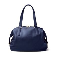 NEW FOSSIL WOMEN'S PRESTON LARGE SATCHEL LEATHER BAG MIDNIGHT NAVY MSRP $278.00