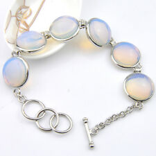 Woman Gorgeous Shiny HUge Oval Silver Rainbow Moonstone Gems Charming Bracelet