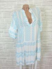 Hippie Blogger Hängerchen Kleid Tunika Volant Print 36 38 40 42 hellblau K205
