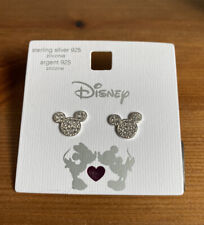 More details for sterling silver & cubic zirconia disney mickey mouse stud earrings