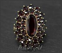 Granat Gold Damen Ring mit 12,5ct roten Granaten, Antik um 1930, 333 Gelbgold