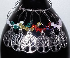 6 Colored Silver Crystal Wine Glass Charms Drink Markers Tree of Life Pagan