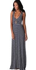 Damen Strandkleid Sommer BOHO Marine Kleid Lang Lässig ärmellos Streifen (372)