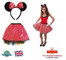 LADIES Minnie Mouse TUTU + BOW EARS Headband Red Polka Dot Skirt Fancy Dress