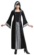 Ladies Witch Costume Long Black Hooded Fancy Dress Halloween Medieval NEW 10-12