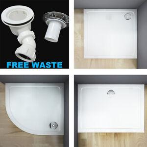 Aica Slimline Rectangle/Square/Quadrant Shower Enclosure Stone Tray Free Waste