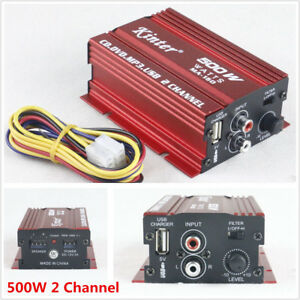12V Mini Hi-Fi 500W 2Channel Stereo Audio Amplifier Amp Subwoofer Car Motorcycle