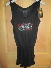 NEW Sinful by AFFLICTION LADIES S ROMPER SHORTS SHIRT Wings Black Swim CoverUP