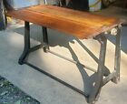 Antique Industrial Factory Simplex Ironer Wood & Cast Iron Legs Workbench Table