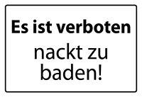Es Verboten Desnudo para Baden ! Letrero de Metal Arqueado Cartel Lata 20 X 30CM