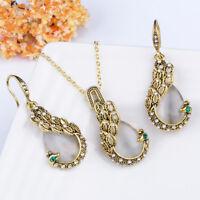 Elegant Peacock Rhinestone Crystal Pendant Chain Necklace Earrings Jewelry Set