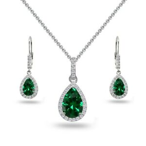Teardrop Simulated Emerald & White Topaz Necklace & Leverback Earrings in Silver