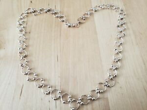 """VINTAGE COLLECTIBLE *STERLING SILVER 925* NECKLACE 18"""" Long,10 mm CHAIN"""