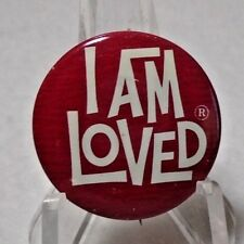 Vintage RG's Diamond Shops I AM LOVED Red & White Button Pin 1""
