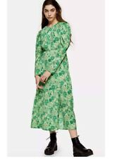 Stunning green floral Topshop midi dress size