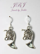 Horn Earrings Musical Instrument 925 sterling silver hooks pewter charms Xmas
