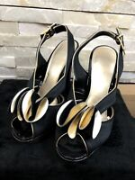 Carvela Ladies Size 37 Arabella Gold Black Strappy Detail Peep Toe Heeled Shoes
