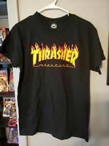 Thrasher Magazine Flame Logo Black T Shirt medium Skateboard Skate EUC