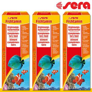 sera 3x 100 ml Fishtamin Ergänzungsfuttermittel Stärkung Fische Aquarium
