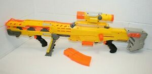 Genuine Nerf Longshot CS-6 YELLOW, w/ Scope, 2 Mag Clips, Barrel Extension WORKS