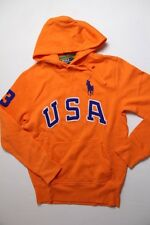 Ralph Lauren Polo USA Men Big Pony Orange Jacket Hoodie Sweater Medium M