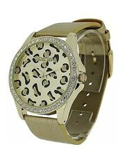 Rebel Ladies Gold Leopard Dial Diamante Bezel & PU Strap Fashion Watch Mother's