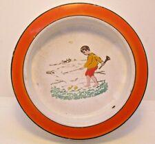 Germany Enamel Children's or Dog Bowl Boy with Goose Vintage