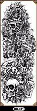 Temporary Tattoo Sleeve Full Arm Death Skulls Serpents Removable Body Art QB-021