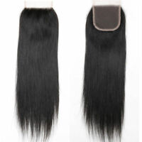 Virgin Brazilian Silky Straight Lace Closure Unprocessed Human Hair 4x4 Closure