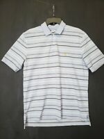 Brooks Brothers Men's Medium Blue and White Striped Polo Short Sleeve Shirt